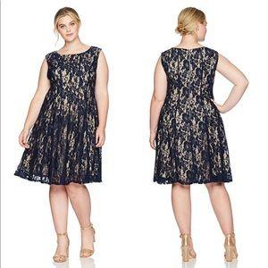 Julian Taylor Fit-n-Flare Navy Lace Dress Sz 14W
